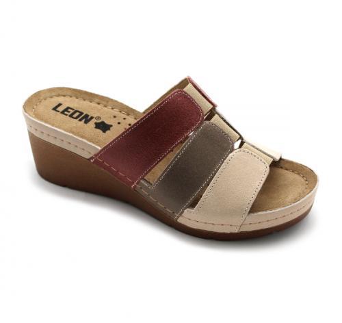1009 LEON Comfort női bőr papucs