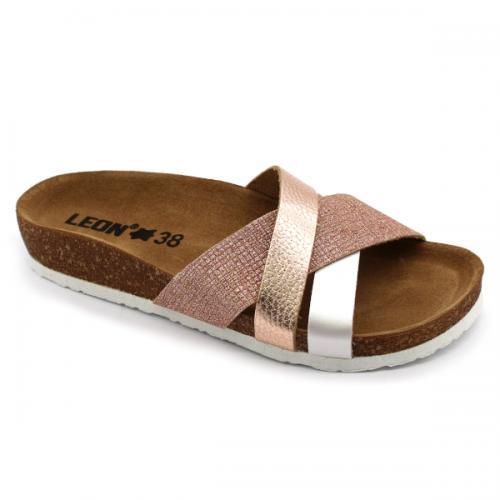 4201 LEON Comfort női bőr papucs