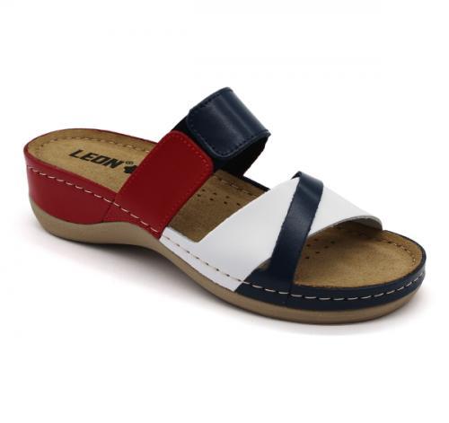 909 LEON Comfort női bőr papucs